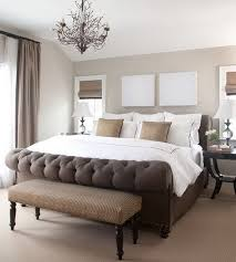 BedroomContemporary Master Bedroom Decor With Tufted Footboard Also Mini Chandelier Contemporary