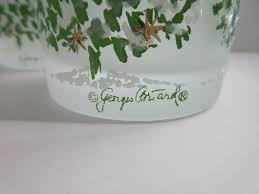 Spode Christmas Tree Glasses by 4 Georges Briard Drink Glasses Flocked Christmas Tree Frosted