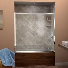 dreamline visions 56 in to 60 in w x 58 in h framed sliding tub