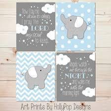 Blue Gray Baby Boy Nursery Art Elephant Nursery Wall Decor No