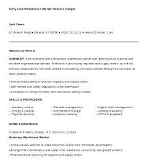 Resumes For Warehouse Workers Entry Level Worker Resume Sample Objectives Summary