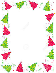 Decorated Colorful Christmas Tree Border Frame Design With
