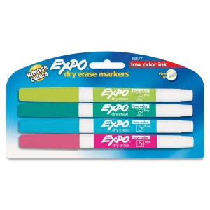 Expo Dry Erase Fine Tip Markers, Assorted - 4 count