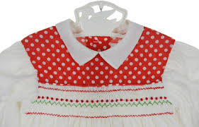 vintage 1960s polly flinders red and white smocked baby dress