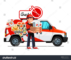 100 Sushi Truck Cheerful Asian Courier Man Delivering Takeaway Stock Vector Royalty