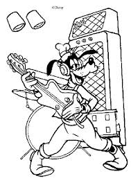 Goofy Goof Is Playing Guitar Coloring Page