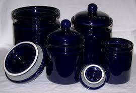 Ceramic Kitchen Canister Sets Cobalt Blue 4 Ceramic Kitchen Canister Set W Lids By