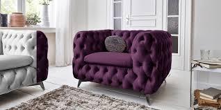 designer chesterfield sessel samt stoff lila 1 sitzer