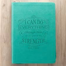 I Can Do Everything Through Him Zippered Turquoise Classic LuxLeather Journal
