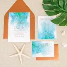 Modern Beach Themed Wedding Invitations