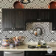 faux tile stencils for kitchen backsplash table tops tiled