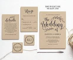 Vintage Wedding Invitation Rustic Printable Invitations Kraft Set Editable Text VW01