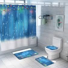 landschaftsdruck duschvorhang bodenmatte teppich matte kombination badezimmer wc matte badezimmer vorhang set vova