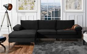 100 Sofa Modern DIVANO ROMA FURNITURE Large Velvet Fabric Sectional LShape Couch With Extra Wide Chaise Lounge Black