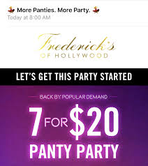 Fredericks Of Hollywood - Panty Party 7 For $20 + 20% Off ... Fredericks Of Hollywood Panties 3 Slickdealsnet Dr Original Arch Support Socks 1 Pair Plantar Fasciitis Large Coupons 30 Off At Smoke 51 Coupon Code Crayola Experience Easton Perfumania Codes September 2018 Deals Hollywood Promo Birthday Freebies Oregon Dual Stim Rabbit Vibrator Framebridge Discount Coupon Code Deal Ohanesplace Best Offering 50 Off On How To Make A Dorm Room Cooler
