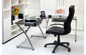 Image Of L Shaped Glass Desk Work