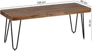 wohnling esszimmer sitzbank massiv holz sheesham 120 x 45 x 40 cm design holz bank natur produkt küchenbank landhaus stil dunkel braun bank 3 sitzer