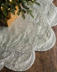 72 Inch Christmas Tree Skirt Pattern by Beaded Scalloped Christmas Tree Skirt Balsam Hill
