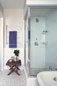 gray marble chevron tiles on shower ceiling and floor