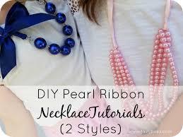 DIY Pearl Ribbon Necklace Tutorials 2 Styles