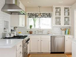 Stunning Small Kitchen Curtain Island White Cabinets L Shaped Marble Countertop Sink Steel Faucets Ceramic Wall And Gas Stove