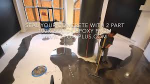 100 Solids Epoxy Garage Floor Paint by 2 Part Epoxy Installation On A Concrete Floor Youtube