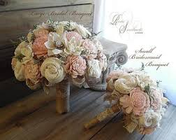 Rustic Blush Pink Wedding Bouquet Sola Flowers Burlap Lace