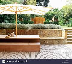 Patio Terrace Wooden Decking Table Bench Seat Parasol Terraces Patios Outside Outdoors Furniture Modern