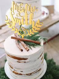 Wedding Cake Topper Custom Surname Personalized Wood Gold Rustic Boho