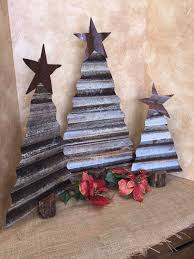 Set Of 3 Rustic Metal Christmas Trees Made From Rusty Corrugated And A Mesquite Trunk With Touch Glitter That Resembles Frost