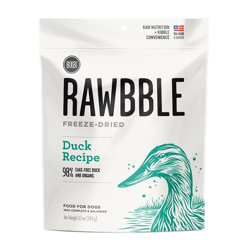 Bixbi Rawbble Freeze-Dried Duck Dog Food, 12 oz
