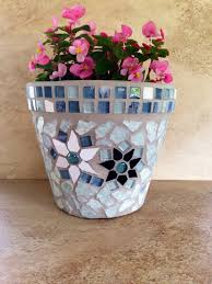 Rustic Mosaic Planter Large Flower Pot Indoor Herb Outdoor Garden Kitchen Handmade Clay Terracotta Fall Decor