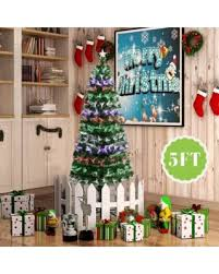 5FT Fiber Optic Artificial Christmas Tree W Stand Colorful LED Light Decorated