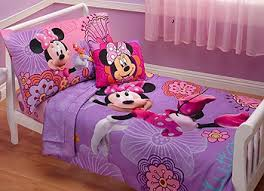 Tmnt Toddler Bed Set by Disney Minnie Mouse Pink And Purple Floral Print 4 Piece Toddler