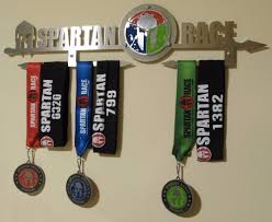 Spartan Race Trifecta Medal Display Rack Holder Black Or Brushed INOX Steel
