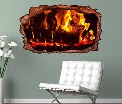 3d wandtattoo feuer lagerfeuer kamin flamme holz selbstklebend wandbild wohnzimmer wand aufkleber 11l424