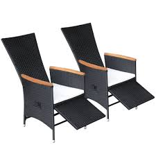 VidaXL 2x Reclining Dining Chairs Black Wicker Poly Rattan Garden ... Decor Market Siesta Wicker Side Chairs Black Finish Hk Living Rattan Ding Chair Black Petite Lily Interiors Safavieh Honey Chair Set Of 2 Fox6000a Europa Malaga Steel Ding Pack Of Monte Carlo For 4 Hampton Bay Mix And Match Stackable Outdoor In Home Decators Collection Genie Grey Kubu 2x Cooma Fnitureokay Artiss Pe Bah3927bkx2 Bloomingville Lena Gray Caline Breeze Finnish Design Shop Portside 5pc Chairs 48 Table