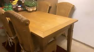 kare esstisch mit 4 stühlen holz 141x80cm küchentisch esszimmertisch massivholz