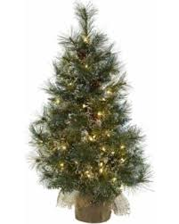 3 Ft Christmas Tree W Clear Lights Frosted Tips Pine Cones Burlap