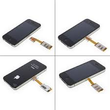 Dual SIM Card Adapter With Back Case iPhone 4s 4