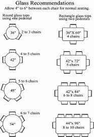 Glass Sizes For Chairs Around A Table Recommended Number Of Chart