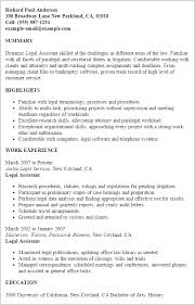 Resume Templates Legal Assistant