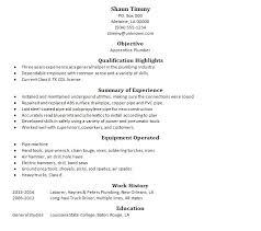 Plumber Apprentice Resume Sample 2