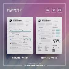 Infographic Resume Vol 5 2 Pages Word And Indesign Template