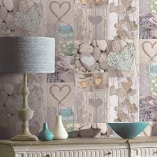 Arthouse Rustic Heart Photo Collage Pattern Wood Wallpaper 669600