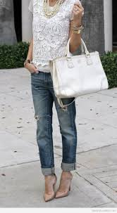 Lace And Boyfriend Jeans Cute Street Style