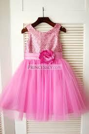 pink sequin tulle wedding flower girl dress