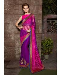 buy trendy fuschia pink and purple half half saree online shopping