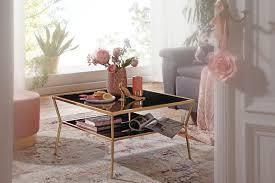wohnling design couchtisch glas schwarz 70 x 70 cm 2 ebenen gold metallgestell