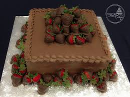 Square Chocolate Covered Strawberry Grooms Cake